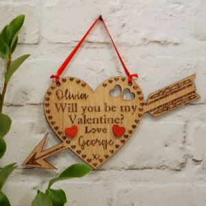 Personalised Will You Be My Valentine Love Heart Cupids Arrow, Valentine's Day Gift